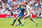 Real Madrid's player Daniel Carvajal and Celta de Vigo's player Theo Bongonda during a match of La Liga Santander at Santiago Bernabeu Stadium in Madrid. August 27, Spain. 2016. (ALTERPHOTOS/BorjaB.Hojas)
