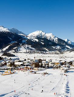 Austria, Tyrol, Ehrwald: ski run with Lechtaler Alps