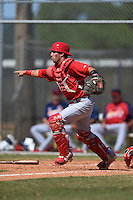 St. Louis Cardinals catcher Dante Rosenberg (30) during a minor league spring training game against the Miami Marlins on March 31, 2015 at the Roger Dean Complex in Jupiter, Florida.  (Mike Janes/Four Seam Images)