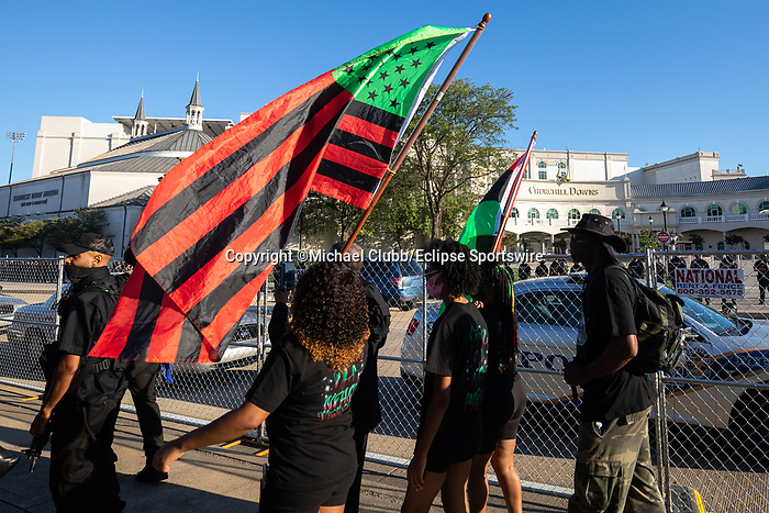 "September 5, 2020: Members of the NFAC march outside of Churchill Downs  the 146th Kentucky Derby. With the Kentucky Derby being the biggest sports event for the State of Kentucky, protestors have chosen the  event as a focal point for their calls for justice in the death of Breonna Taylor. Multiple groups from around the country have converged on Louisville to protest during the ""Run for the Roses"" at Churchill Downs in Louisville. Michael Clubb/Eclipse Sportswire/CSM"