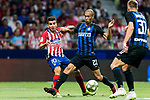 Joao Miranda de Souza Filho (R) of FC Internazionale competes for the ball with Angel Correa of Atletico de Madrid during their International Champions Cup Europe 2018 match between Atletico de Madrid and FC Internazionale at Wanda Metropolitano on 11 August 2018, in Madrid, Spain. Photo by Diego Souto / Power Sport Images