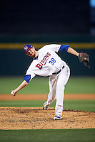 Buffalo Bisons relief pitcher Ben Rowen (38) delivers a warmup pitch during a game against the Lehigh Valley IronPigs on July 9, 2016 at Coca-Cola Field in Buffalo, New York.  Lehigh Valley defeated Buffalo 9-1 in a rain shortened game.  (Mike Janes/Four Seam Images)