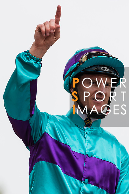 Jockey Zac Purton riding Seventy Seventy celebrates after winning the race 3 during Hong Kong Racing at Sha Tin Racecourse on October 01, 2018 in Hong Kong, Hong Kong. Photo by Yu Chun Christopher Wong / Power Sport Images