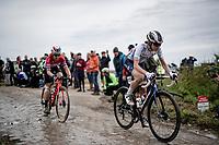 Marta Cavalli (FRA/FDJ Nouvelle Aquitaine Futuroscope)<br /> <br /> Inaugural Paris-Roubaix Femmes 2021 (1.WWT)<br /> One day race from Denain to Roubaix (FRA)(116.4km)<br /> <br /> ©kramon