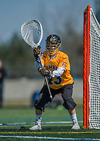 16 April 2016: University of Maryland, Baltimore County Retriever Goalkeeper Ruston Souder, a Junior from Pasadena, MD, in action against the University of Vermont Catamounts at Virtue Field in Burlington, Vermont. The Retrievers fell to the Catamounts 14-10 in NCAA Division I play. Mandatory Credit: Ed Wolfstein Photo *** RAW (NEF) Image File Available ***
