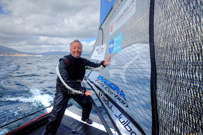 "Yvan Bourgnon and Joris Cocaud training before the attempt of the around Corsica Island record on the Nacra F20 Carbon ""Atlantis Television"", Porticcio, Corsica, France."