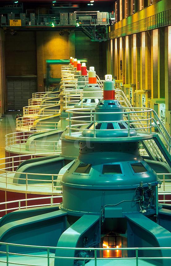 Power house interior of Hoover Dam.