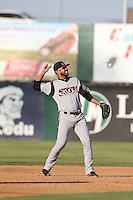 Fernando Perez (14) of the Lake Elsinore Storm throws during a game against the Lancaster JetHawks at The Hanger on May 9, 2015 in Lancaster, California. Lancaster defeated Lake Elsinore, 3-1. (Larry Goren/Four Seam Images)