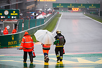29th August 2021; Spa Francorchamps, Stavelot, Belgium: FIA F1 Grand Prix of Belgium,  race day:  Stewards inspect the track during the formation laps in heavy rain before cancellation of the race due to standing water