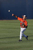 Justin Garza (8) of the Cal State Fullerton Titans throws before a game against the Cal Poly Mustangs at Goodwin Field on April 2, 2015 in Fullerton, California. Cal Poly defeated Cal State Fullerton, 5-0. (Larry Goren/Four Seam Images)