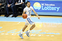CHAPEL HILL, NC - FEBRUARY 1: Cole Anthony #2 of the University of North Carolina brings the ball up the court during a game between Boston College and North Carolina at Dean E. Smith Center on February 1, 2020 in Chapel Hill, North Carolina.