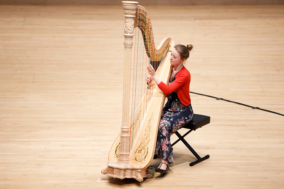 Mathilde Wauters from Belgium performs during Stage III at the 11th USA International Harp Competition at Indiana University in Bloomington, Indiana on Wednesday, July 10, 2019. (Photo by James Brosher)