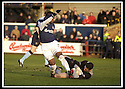 25/1/03       Copyright Pic : James Stewart                  .File Name : stewart-falkirk v hearts 01.HEARTS KEEPER CRAIG GORDON SAVES AT THE FEET OF COLLIN SAMUEL.....James Stewart Photo Agency, 19 Carronlea Drive, Falkirk. FK2 8DN      Vat Reg No. 607 6932 25.Office : +44 (0)1324 570906     .Mobile : + 44 (0)7721 416997.Fax     :  +44 (0)1324 570906.E-mail : jim@jspa.co.uk.If you require further information then contact Jim Stewart on any of the numbers above.........