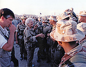 First lady Barbara Bush greets United States military personnel in Saudi Arabia as she and US President George H.W. Bush visit on Thanksgiving Day, November 22, 1990.<br /> Mandatory Credit: Ed Bailey / DoD via CNP