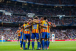 Carlos Soler Barragan of Valencia CF celebrates with teammates during their La Liga 2017-18 match between Real Madrid and Valencia CF at the Estadio Santiago Bernabeu on 27 August 2017 in Madrid, Spain. Photo by Diego Gonzalez / Power Sport Images