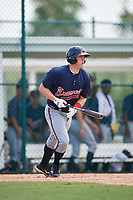GCL Braves first baseman Justin Morhardt (91) follows through on a swing during a game against the GCL Pirates on July 26, 2017 at Pirate City in Bradenton, Florida.  GCL Braves defeated the GCL Pirates 12-5.  (Mike Janes/Four Seam Images)