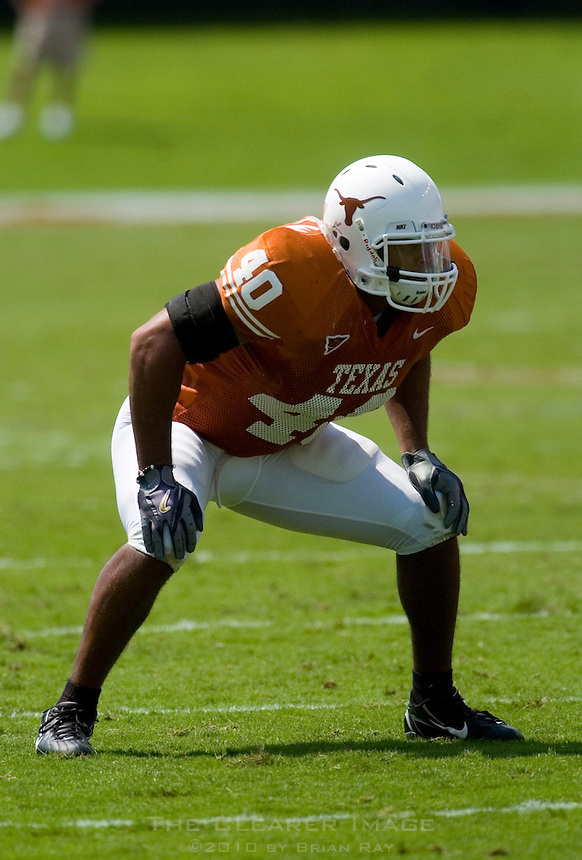 02 September 2006: University of Texas defender Robert Killebrew gets ready for a play during the Longhorns 56-7 victory over the University of North Texas at Darrell K Royal Stadium in Austin, TX.