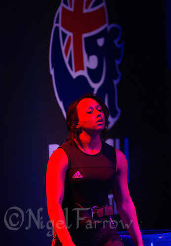 10 MAY 2014 - COVENTRY, GBR - Zoe Smith from Europa / KBT Weightlifting prepares to lift during the women's 63kg category round at the British 2014 Senior Weightlifting Championships and final 2014 Commonwealth Games qualifying event round at the Ricoh Arena in Coventry, Great Britain. Smith, with a combined total for the event of 200kg and having reached the qualifying criteria in her usual 58kg category at the English Championships in February, is eligible for selection for the England team for the 2014 Commonwealth Games in two categories (PHOTO COPYRIGHT © 2014 NIGEL FARROW, ALL RIGHTS RESERVED)
