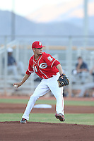 Jesus Reyes (21) of the AZL Reds pitches during a game against the AZL Brewers at Cincinnati Reds Spring Training Complex on July 5, 2015 in Goodyear, Arizona. Reds defeated the Brewers, 9-4. (Larry Goren/Four Seam Images)