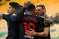 20th April 2021; Carrow Road, Norwich, Norfolk, England, English Football League Championship Football, Norwich versus Watford; Dan Gosling of Watford celebrates with team mates after he scores for 0-1 in the 57th minute