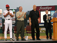 August 29, 2003:  Cal Ripken Jr. gets an ovation as he's inducted into the Rochester Red Wings Hall of Fame before an International League game at Frontier Field in Rochester, NY.  Photo by:  Mike Janes/Four Seam Images