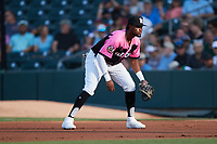 Charlotte Knights first baseman Ti'Quan Forbes (10) on defense against the Gwinnett Stripers at Truist Field on July 17, 2021 in Charlotte, North Carolina. (Brian Westerholt/Four Seam Images)