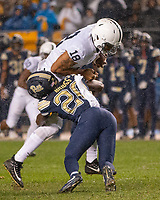 Pitt defensive back Dennis Briggs tackles Penn State tight end Jonathan Holland. The Penn State Nittany Lions defeated the Pitt Panthers 51-6 on September 08, 2018 at Heinz Field in Pittsburgh, Pennsylvania.