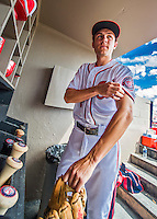 13 March 2016: Washington Nationals infielder Trea Turner prepares his gear prior to a pre-season Spring Training game against the St. Louis Cardinals at Space Coast Stadium in Viera, Florida. The teams played to a 4-4 draw in Grapefruit League play. Mandatory Credit: Ed Wolfstein Photo *** RAW (NEF) Image File Available ***