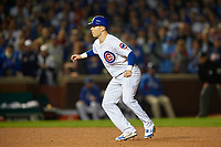 Chicago Cubs Chris Coghlan (8) leads off second base in the ninth inning during Game 3 of the Major League Baseball World Series against the Cleveland Indians on October 28, 2016 at Wrigley Field in Chicago, Illinois.  (Mike Janes/Four Seam Images)