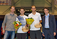 December 20, 2014, Rotterdam, Topsport Centrum, Lotto NK Tennis, Men's doubles winners Wesley Koolhof and Thiemo de Bakker with on the right tounament director Guus van Berkel and left tournamen leader Roy Kriujer<br /> Photo: Tennisimages/Henk Koster