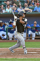 Jonathan Piron (2) of the Grand Junction Rockies follows through on his swing against the Ogden Raptors during the Pioneer League game at Lindquist Field on August 26, 2016 in Ogden, Utah. The Raptors defeated the Rockies 6-5. (Stephen Smith/Four Seam Images)