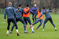 Tuesday 17 January 2017<br /> Pictured: Marvin Emnes of Swansea City kicks the ball during training<br /> Re:Swansea City training session at the Fairwood Training ground, Fairwood, Swansea, Wales, UK