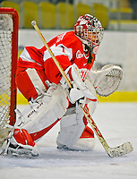 9 February 2008: Boston University Terriers' goaltender Ashley Leichliter, a Sophomore from West Chester, PA, warms up prior to a game against the University of Vermont Catamounts at Gutterson Fieldhouse in Burlington, Vermont. The Terriers shut out the Catamounts 2-0 in the Hockey East matchup...Mandatory Photo Credit: Ed Wolfstein Photo