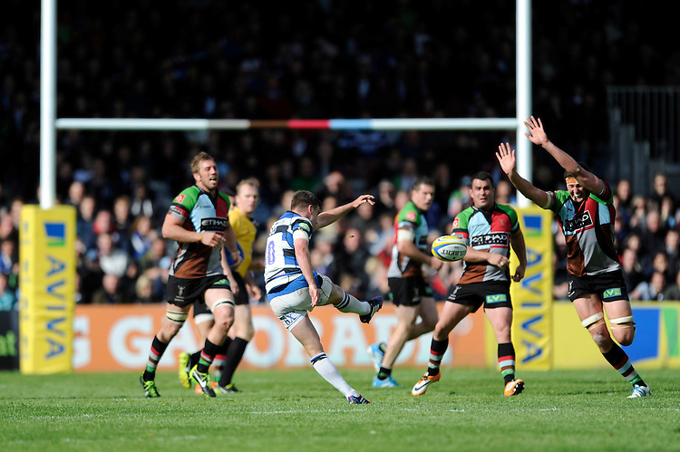 George Ford of Bath Rugby misses a drop goal attempt which would have drawn the match during the Aviva Premiership match between Harlequins and Bath Rugby at The Twickenham Stoop on Saturday 10th May 2014 (Photo by Rob Munro)