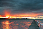 Jetty and sunset over Tuggerah Lake, NSW
