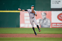 Hudson Valley Renegades shortstop Ford Proctor (7) throws to first base during a game against the Connecticut Tigers on August 20, 2018 at Dodd Stadium in Norwich, Connecticut.  Hudson Valley defeated Connecticut 3-1.  (Mike Janes/Four Seam Images)