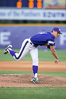 High Point Panthers starting pitcher Trevor Holloway (4) follows through on his delivery against the NJIT Highlanders during game two of a double-header at Williard Stadium on February 18, 2017 in High Point, North Carolina.  The Highlanders defeated the Panthers 4-2.  (Brian Westerholt/Four Seam Images)