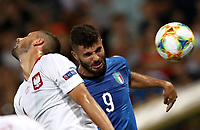 Football: Uefa under 21 Championship 2019, Italy -Poland, Renato Dall'Ara stadium Bologna Italy on June19, 2019.<br /> Italy's Patrick Cutrone (r) in action with Poland's Mateusz Wieteska (l) during the Uefa under 21 Championship 2019 football match between Italy and Poland at Renato Dall'Ara stadium in Bologna, Italy on June19, 2019.<br /> UPDATE IMAGES PRESS/Isabella Bonotto
