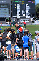 NZ's Trent Boult signs autographs during the third One Day International cricket match between the New Zealand Black Caps and Bangladesh at the Basin reserve in Wellington, New Zealand on Friday, 26 March 2021. Photo: Dave Lintott / lintottphoto.co.nz