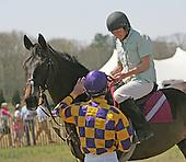 Bernie Dalton greets Jane Elliot and Flat Top at 2009 Aiken Spring Races.