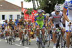 The peloton including Carlos Sastre (ESP) Cervelo Test Team pass through the village of Sabres during Stage 18 of the 2010 Tour de France running 198km from Salies-de-Bearn to Bordeaux, France. 23rd July 2010.<br /> (Photo by Eoin Clarke/NEWSFILE).<br /> All photos usage must carry mandatory copyright credit (© NEWSFILE | Eoin Clarke)