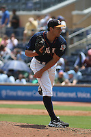 Durham Bulls pitcher John Gaub #29 on the mound during a game against the Louisville Bats at Durham Bulls Athletic Park on May 2, 2012 in Durham, North Carolina. Durham defeated Louisville by the score of 7-5. (Robert Gurganus/Four Seam Images)