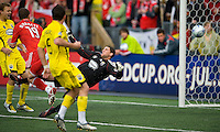 02 May 2009: Toronto FC forward Chad Barrett #19 scores for Toronto FC at BMO Field in a game between the Columbus Crew and Toronto FC. .The game ended in a 1-1 draw...