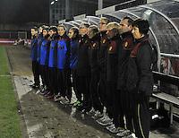 Netherlands U17 - Belgium U17 : Joelle Piron , Luc Bosmans en staff bij de hymne.foto Joke Vuylsteke / Vrouwenteam.be
