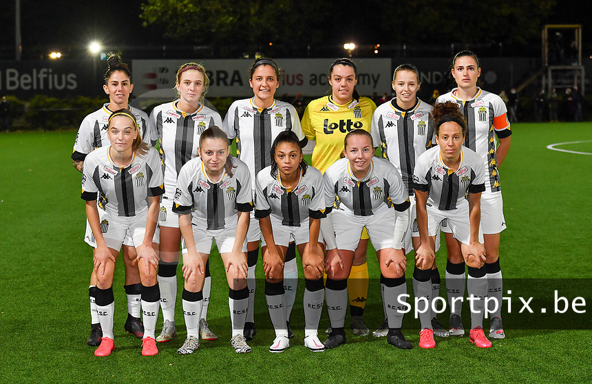 Charleroi's players with forward Ylenia Carabott of Sporting Charleroi , forward Renate Ly Mehevets of Sporting Charleroi , defender Madison Hudson of Sporting Charleroi , goalkeeper Sara Missair of Sporting Charleroi , midfielder Alysson Duterne of Sporting Charleroi , defender Noemie Fourdin of Sporting Charleroi ,  defender Chrystal Lermusiaux of Sporting Charleroi , midfielder Megane Vos of Sporting Charleroi , defender Jessica Valdebenito Silva of Sporting Charleroi ,  midfielder Ludmila Matavkova of Sporting Charleroi and midfielder Ines Dhaou of Sporting Charleroi  pose for a team photo during a female soccer game between Sporting Charleroi and Club Brugge YLA on the fourth matchday of the 2020 - 2021 season of Belgian Scooore Womens Super League , friday 9 nd of October 2020  in Marcinelle , Belgium . PHOTO SPORTPIX.BE | SPP | DAVID CATRY