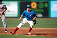 Clearwater Threshers first baseman Luke Williams (9) during a game against the Florida Fire Frogs on June 1, 2018 at Spectrum Field in Clearwater, Florida.  Clearwater defeated Florida 2-0 in a game that was started on May 19th but called in the fifth inning due to weather.  (Mike Janes/Four Seam Images)