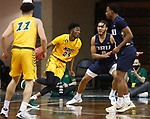 SIOUX FALLS, SD - MARCH 9: Maleeck Harden-Hayes #23 of the North Dakota State Bison drives toward Kevin Obanor #0 of the Oral Roberts Golden Eagles during the 2021 Men's Summit League Basketball Championship at the Sanford Pentagon in Sioux Falls, SD. (Photo by Richard Carlson/Inertia)