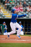 Oklahoma City Dodgers center fielder Trayce Thompson (21) follows through on a swing during a game against the Colorado Springs Sky Sox on June 2, 2017 at Chickasaw Bricktown Ballpark in Oklahoma City, Oklahoma.  Colorado Springs defeated Oklahoma City 1-0 in ten innings.  (Mike Janes/Four Seam Images)