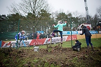 """""""Go Daddy! Go!""""; Jonathan Page (USA/XcelLED) being encouraged by his kids and wife<br /> <br /> Zolder CX UCI World Cup 2014"""