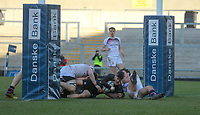 Monday 19th March 2018 |  Ulster Schools Cup Final 2018<br /> <br /> Campbell wing Will Davis secures victory as he dives in under the posts during the 2018 Ulster Schools Cup Final between the Royal School Armagh and Campbell College at Kingspan Stadium, Ravenhill Park, Belfast, Northern Ireland. Photo by John Dickson / DICKSONDIGITAL